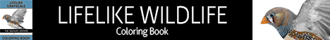 The Lifelike Wildlife Grayscale Coloring Book Affiliate Banner - 468x60